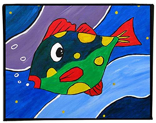Colorful Fish Painting on Canvas Nursery Decor Kids Room Wall Art Sea Life Artwork, 8x10 Ready to Hang ()