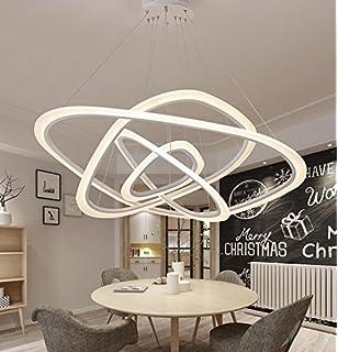 Ringleuchte Ringe Vier Hngelampe Wohnzimmer Modern Led Dimmbar Lampe 2835 Strip Esstischlampe Rund Drahtseil Acryl