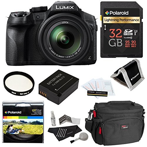 Panasonic LUMIX DMC FZ300 4K, Point and Shoot Camera with Leica DC Lens 24X Zoom Black + Polaroid Accessory Kit + 32GB Class 3 SD Card + Ritz Gear Bag + Spare Battery + Filter + Cleaning Kit + More (Panasonic Camera Leica compare prices)