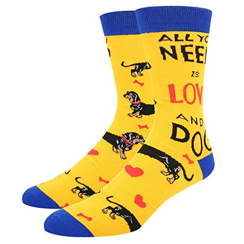 Novelty Crazy Dog Crew Socks Cute Dachshund Combed Cotton Socks for - Men Express Suit For