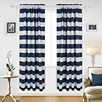 Deconovo Navy Blue Striped Blackout Curtains Rod Pocket...