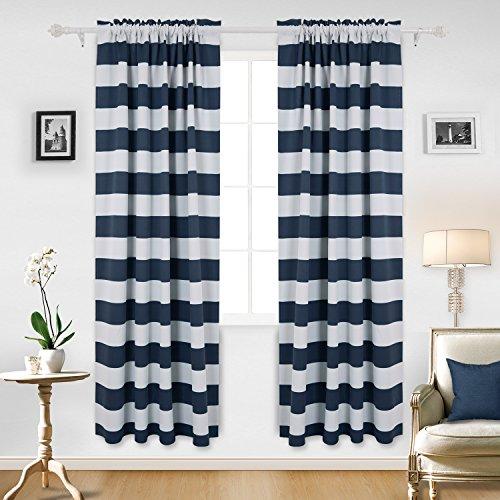 Deconovo Navy Blue Striped Blackout Curtains Rod Pocket Nautical Navy and Greyish White Striped Curtains for Kids Room 42W X 84L Navy Blue 2 (Nautical Baby Room Decor)