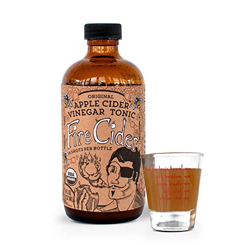 Fire Cider, Apple Cider Vinegar Tonic with honey & Shot Glass, Original flavor, Pure & Raw, All Certified Organic Ingredients, Not Heat Processed, Not Pasteurized, Paleo, Keto, 16 Shots, 8 oz. (Apple Cider Vinegar And Honey Drink Recipe)