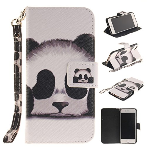 iPhone 7 Plus Case,iPhone 8 Plus Case,Gift_Source [Kickstand] [Card Slots] Premium Magnetic PU Leather Wallet Folio Flip Case Stand Cover & Wrist Strap for iPhone 7 Plus / iPhone 8 Plus (5.5) [Panda]
