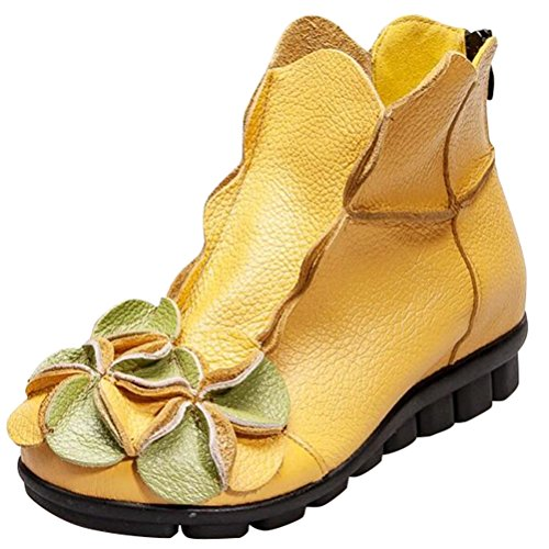 MatchLife Floral Vintage Style1 Shoes Zip Yellow Women Boots Leather 6U6FArq