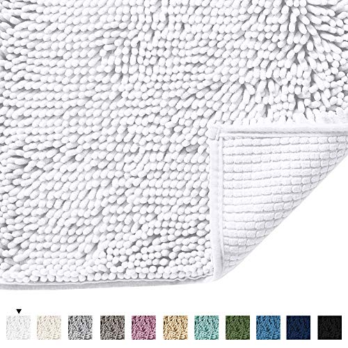 Pure White Bath Rug Super Soft Microfiber Non Slip Mat Absorption Shaggy Shower Rugs for Bathroom, Easy Care Machine Wash, 17 x 24 Inch (White Super Soft Rug)