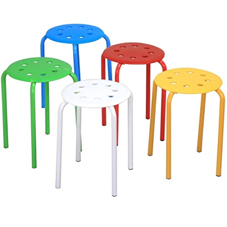 Topeakmart Set of 5 Round Plastic Stack Stools Blue Green Red White Yellow Nesting Bar Stools Set 17.3 Height