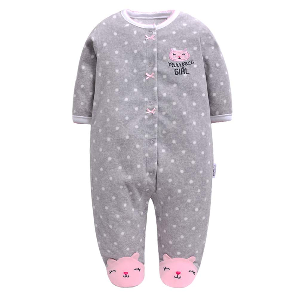 BOBORA Newborn Infant Baby Girls Fleece Jumpsuit Toddler Autumn Winter Long Sleeve Footies Romper Bodysuit Overalls Clothing 0-12Months