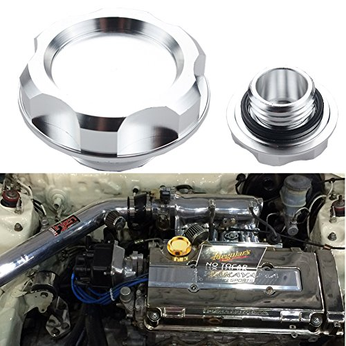 - Dewhel Billet Engine Oil Fuel Filler Tank Cap Cover For Honda Acura Civic TL Color Silver
