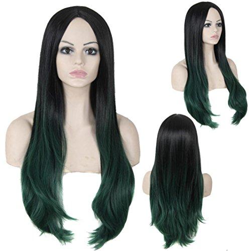 [DEESEE(TM) Ms. Wave Gradient Color Wig High Temperature Silk Fiber Hair Sets Cosplay wig (Green)] (Making Waves Sailor Costume)