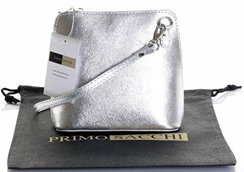Baguette Handbag Bag - Italian Leather, Silver Small/Micro Cross Body Bag or Shoulder Bag Handbag. Includes Branded a Protective Storage Bag.