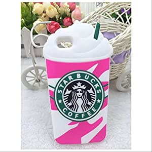 3D Starbucks Ice Cream Soft Silicone Case Cover For Iphone 5 5S-Pink