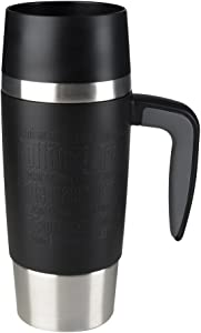 EMSA 514096 Travel Mug Handle Insulated Drinking Cup with Quick Press Closure, 360 ml, Black