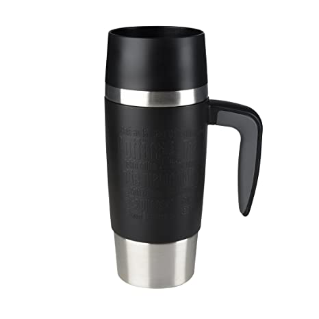 Emsa Travel MUG Handle Taza térmica, Acero Inoxidable, Negro, 0.36 L
