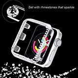 Secbolt 44mm Case Compatible with Apple Watch Band, Bling Full Cover Bumper Protective Frame Screen Protector for iWatch Series