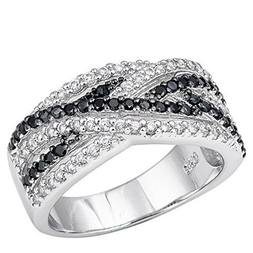10mm Sterling Silver Fancy Cocktail Infinity Simulated Black Onyx and Clear CZ Wedding Band Ring 5-9 (5)