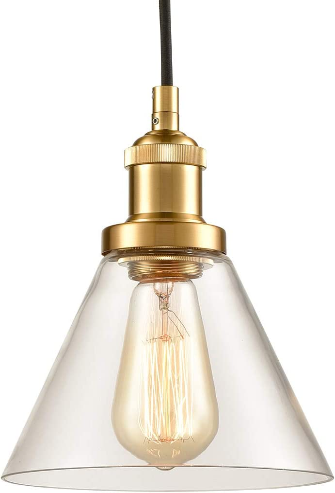 Antique Brass Glass Pendant Lights Mini Kitchen Island Lighting Funnel Shape