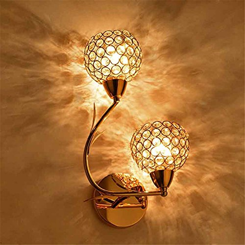 Crystal Wall Bracket - ATC® Golden Double Head Modern Crystal Wall Lamp Suitable for Living Room Bedroom Bedside (Left)