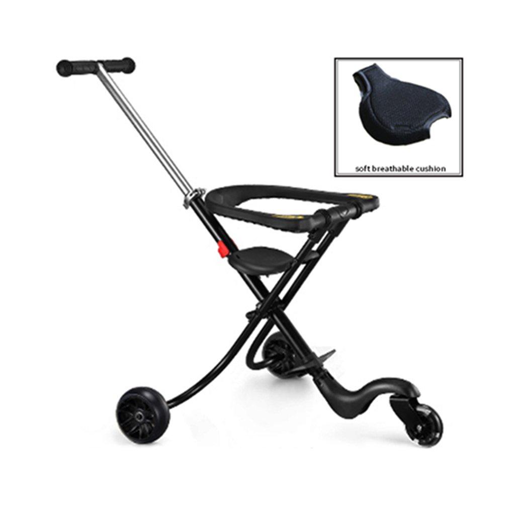 軽量折りたたみ自転車赤ちゃんベビートリクル14歳ベビー用3C認定子供用カート 乗用玩具三輪車 (Color : Black)  Black B07GLTKFQP