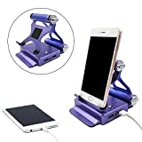 Phone Tablet Stand Holder + 10400mAh Power Bank Dual USB external battery charger for iPhone 7, iPhone 7 plus,iPhone 6,iPhone 6s, Samsung Galaxy and iPad (Purple 2in1)