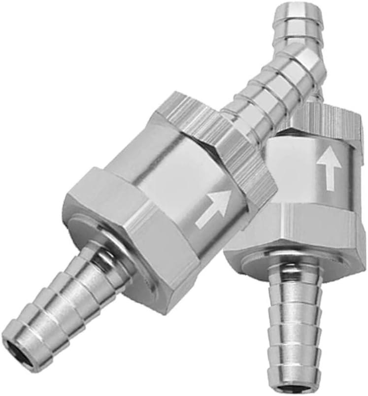 2 PCS 1//4 6mm Non Return One Way Check Valve for Fuel Line Oil Petrol Diesel Aluminium Silver