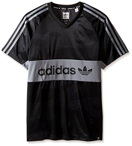 adidas Originals Men's Tops Skateboarding Jersey, Black/Grey/Word Camo, X-Large (Jersey Stripe Top Subtle)