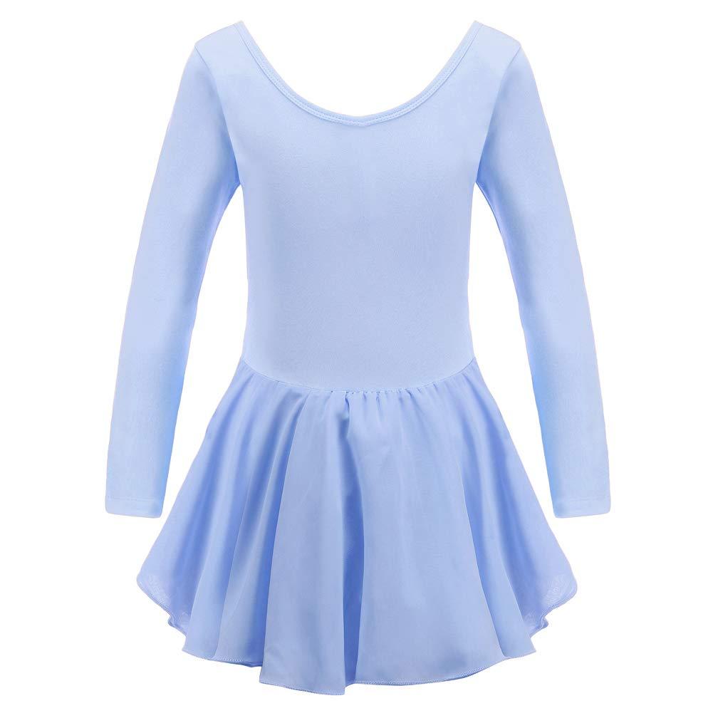 Tigerhu Girls Team Basic Long Sleeve Leotard for Kids Dance Ballet Tutu Dress with Open Crotch