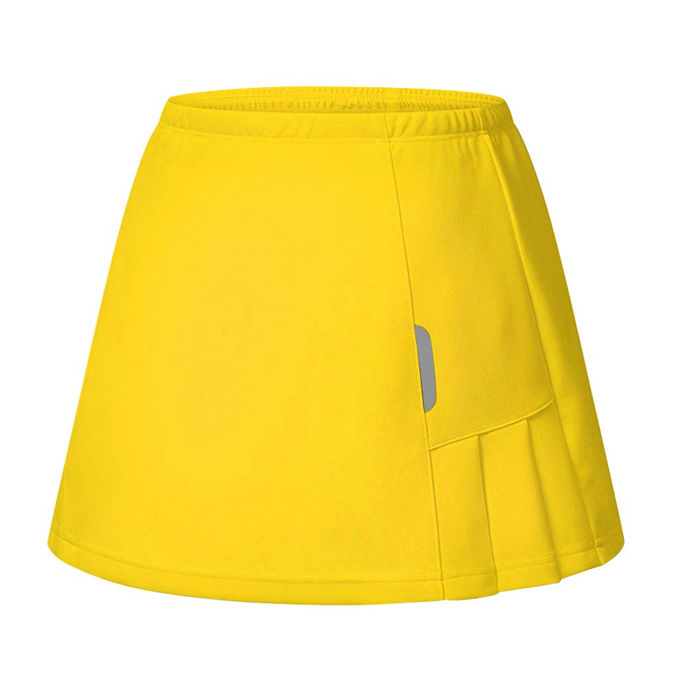 RainbowTree Women's Active Performance Skort Casual Pleated Skirt for Running Tennis Golf Workout Yellow by RainbowTree