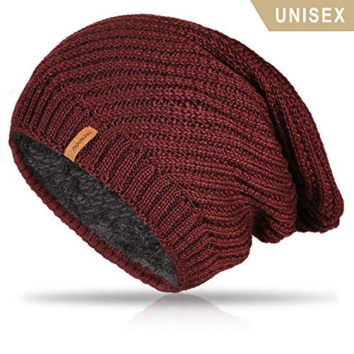 (TRENDOUX Beanie Hat Women, Winter Knit Hats Warm Lining Men - Acrylic Unisex Plain Skull Cap - Baggy Slouchy Toboggan Beanies - Red)