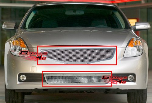 Coupe Mesh Grille - 07-09 Nissan Altima Coupe Stainless Mesh Grille Grill Combo Insert