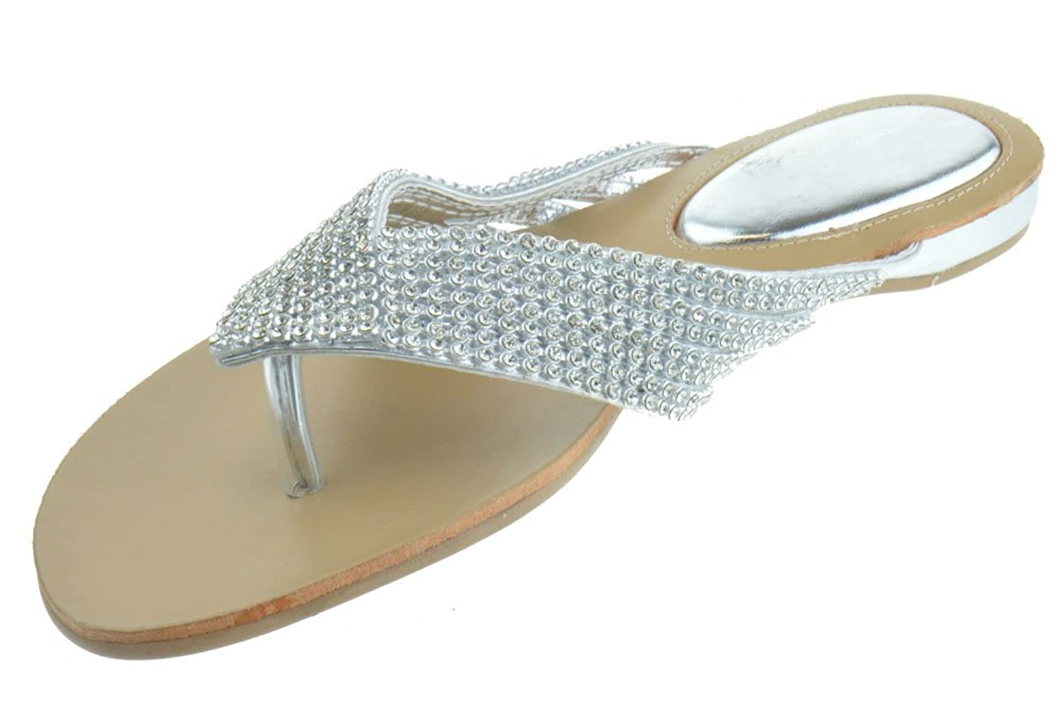 Women's sandals with bling - Amazon Com Kylie 09 Rhinestone Embellished Thong Flat Sandals Silver Flats