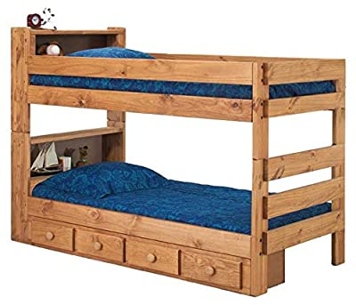 Chelsea Home Twin XL Over Twin XL Bookcase Bunk Bed with Queen Rail