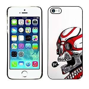 PC/Aluminum Funda Carcasa protectora para Apple Iphone 5 / 5S Yo Black Red Skull White Biker Gang / JUSTGO PHONE PROTECTOR