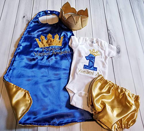 4 piece 1st 2nd Birthday baby boy birthday set outfit Smash cake photo prop prince king royal blue gold crown onesie cape Crown Hat diaper cover 6 months to 24 months ()
