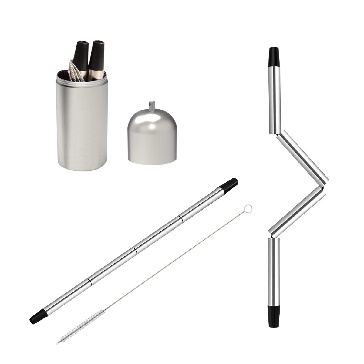 Medical-Grade 304 Stainless Collapsible Reusable Straw with Food-Grade TPE Tube for Portable Travel, Home, Outdoor Household, FinalStraw, Drinking Straw