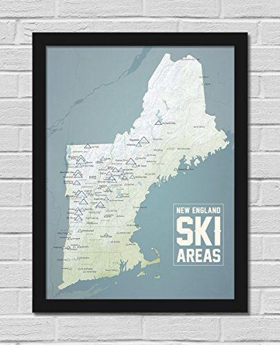 New England Ski Resorts Map FRAMED 18x24 Poster (Natural Earth | Black)