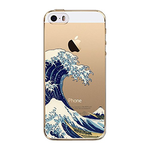 Wave Silicone (iPhone 8 / 7 Compatible , Colorful Rubber Flexible Silicone Case Bumper Clear Cover Case - Great Wave Off Kanagwa)