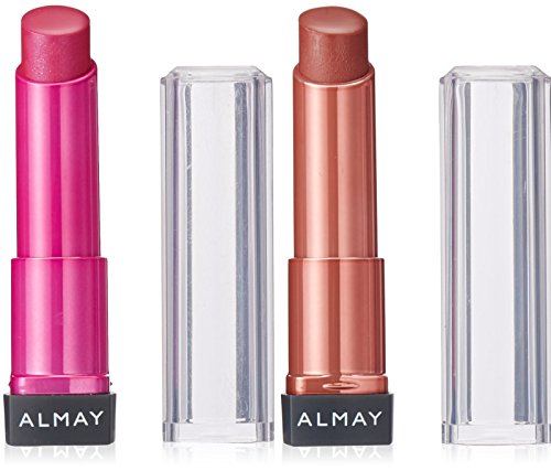 Almay Smart Shade Butter Kiss Lipstick #110 (Nude/Medium) and #100 (Pink/Medium) Bundle, Coordinated By Skin Tone, Hydrating Lip Stick, Medium to Full Coverage With Shiny Finish