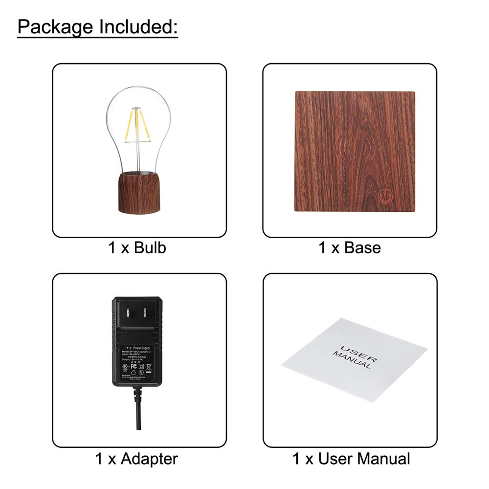 Disumos Magnetic Levitating Lamp Magnetic Levitating Floating LED Bulb Night Light Gift Home Desk Lamp Decor AC110-240V - UK Plug by Disumos (Image #4)