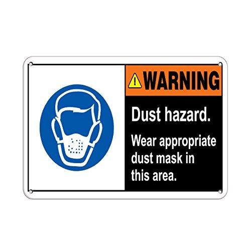 Warning Dust Hazard Wear Appropriate Dust Mask Aluminum Metal Sign 12 X 18 -