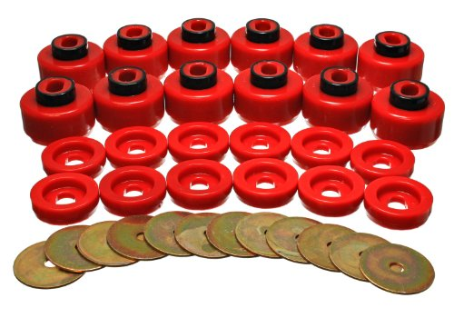 Energy Suspension 3.4156R Body Mount Set Red Performance Polyurethane Body Mount - Polyurethane Set