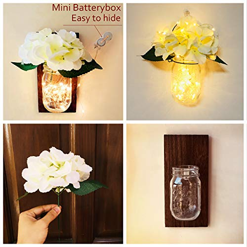 Mason Jar Handmade Flowers Lights, 2 Pack MasonJars,Artificial Flowers,Painted Wooden Boards,40 Leds String Fairy Lights,20pcs Hanging Pothook Button Accessories Included for Handmade DIY (Brown Wood) by Aobik (Image #1)