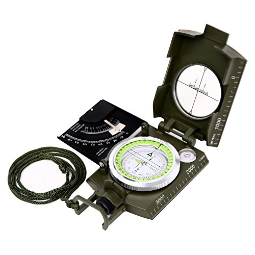 ional Military Lensatic Sighting Compass with Inclinometer and Carrying Bag, Waterproof and Shakeproof, Army Green (Lensatic Lens Compass)