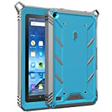 Poetic Fire 7 2015 Case, Revolution [Premium Rugged][Shock Absorption & Dust Resistant] Complete Protection Hybrid Case w/Built-In Screen Protector for Amazon Fire 7 5th Gen (2015) Blue/Gray