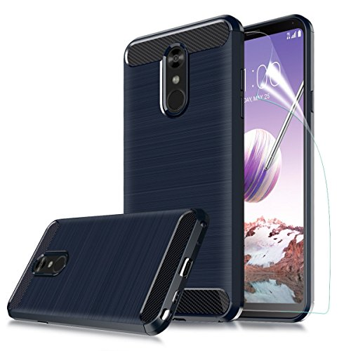 ,LG Stylo 4 Plus/LG Stylus 4 Case,CaseRoo Carbon Fiber Soft TPU Phone Case Brushed Texture Flexible Full-Body Rubber Protective Cover for LG Stylo 4 w/Screen Protector(Navy) ()