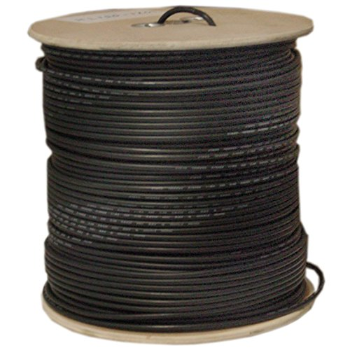 GadKo Quad Shielded Bulk RG6 Coaxial Cable, Black, 18 AWG, Solid Core, Spool, 1000 foot by GadKo
