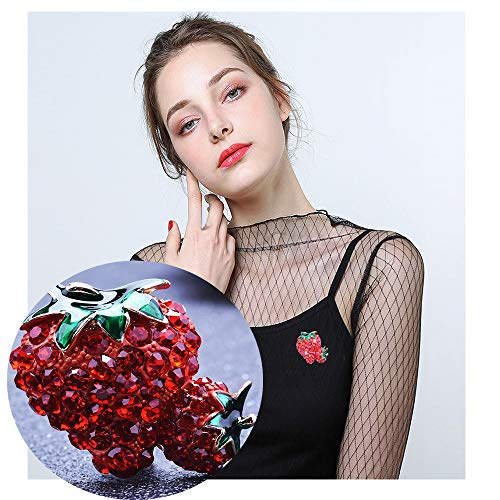 Pin Fruit Brooch (Dwcly Cute Full Crystal Rhinestone Heart Shape Strawberry Brooch Green Leaf Pins Creative Fruit Pin for Girl)
