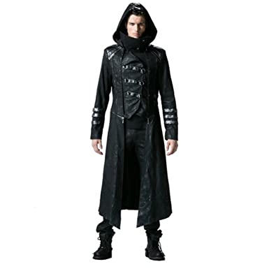 470ee2734e9 Peony ghost Steampunk Men Trench Coats Black Strentch Coats with Leather Gothic  Hooded Detachable Long Coats