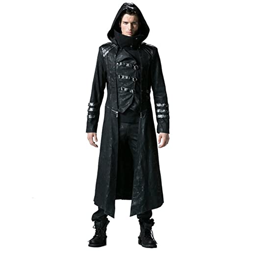 8a6c08e82 Peony ghost Steampunk Men Trench Coats Black Strentch Coats with Leather  Gothic Hooded Detachable Long Coats