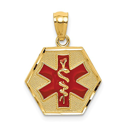 14k Yellow Gold Red Enameled Medic Id Pendant Charm Necklace Medical Fine Jewelry Gifts For Women For Her